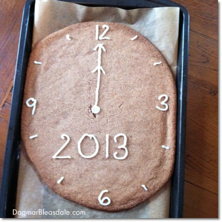 giant cookie for first grade's New Year's celebration