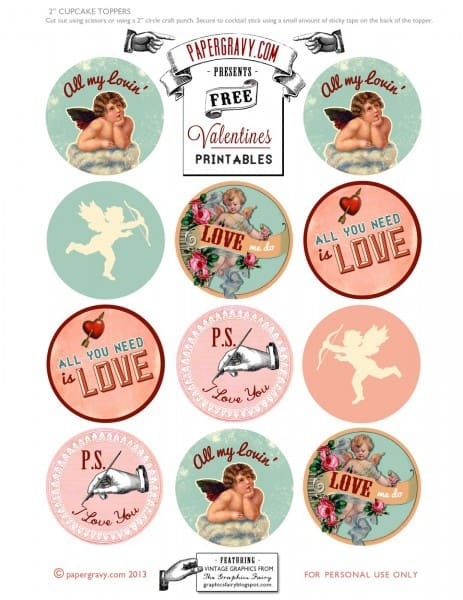 vintage Valentines Printable for cupcake toppers