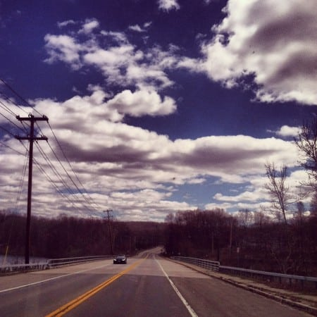 beautiful clouds over street