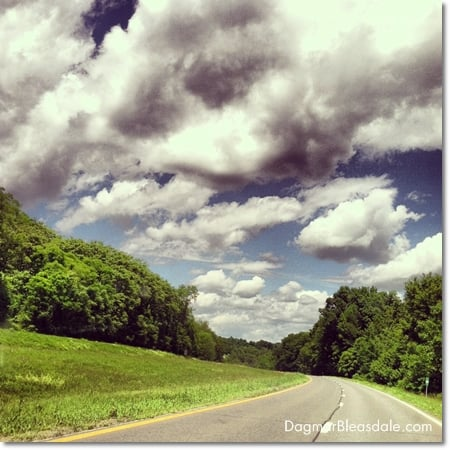 road trip, stunning clouds