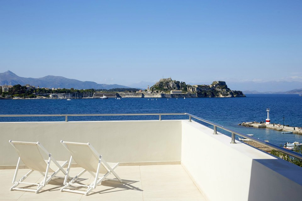 Mayor-Mon-Repos-balcony-view-of-fortress-Corfu 2 plus 2 Greek destinations for year round holidays