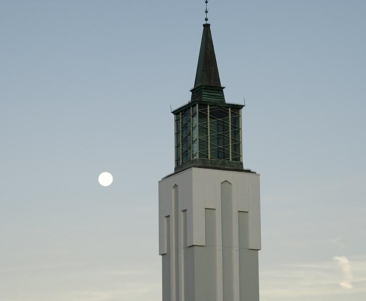 Full Moon Setting over Mormon Church 1