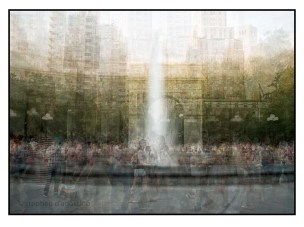 The fountain at Washington Square photographed using the in the round photo impressionistic technique. © Stephen D'Agostino.