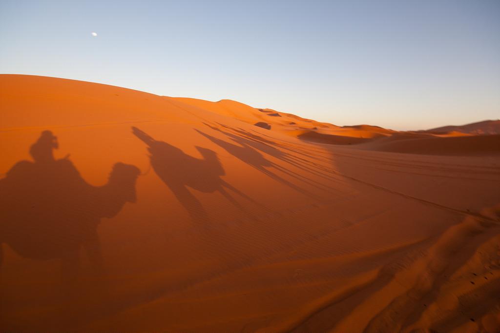 Nos ombres projetées sur une dune, au coucher du soleil.