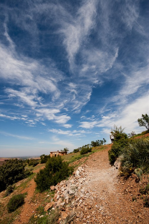 Beau paysage sur le lieu de l'accrobranche, sous un beau ciel bleu.