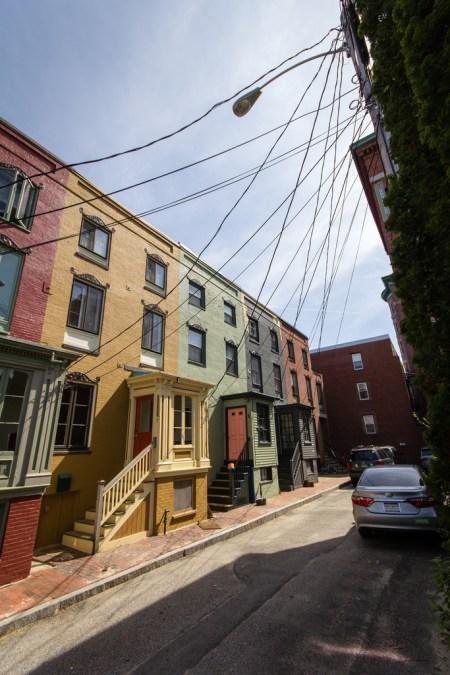 Petites maisons colorées à Portland, Maine.