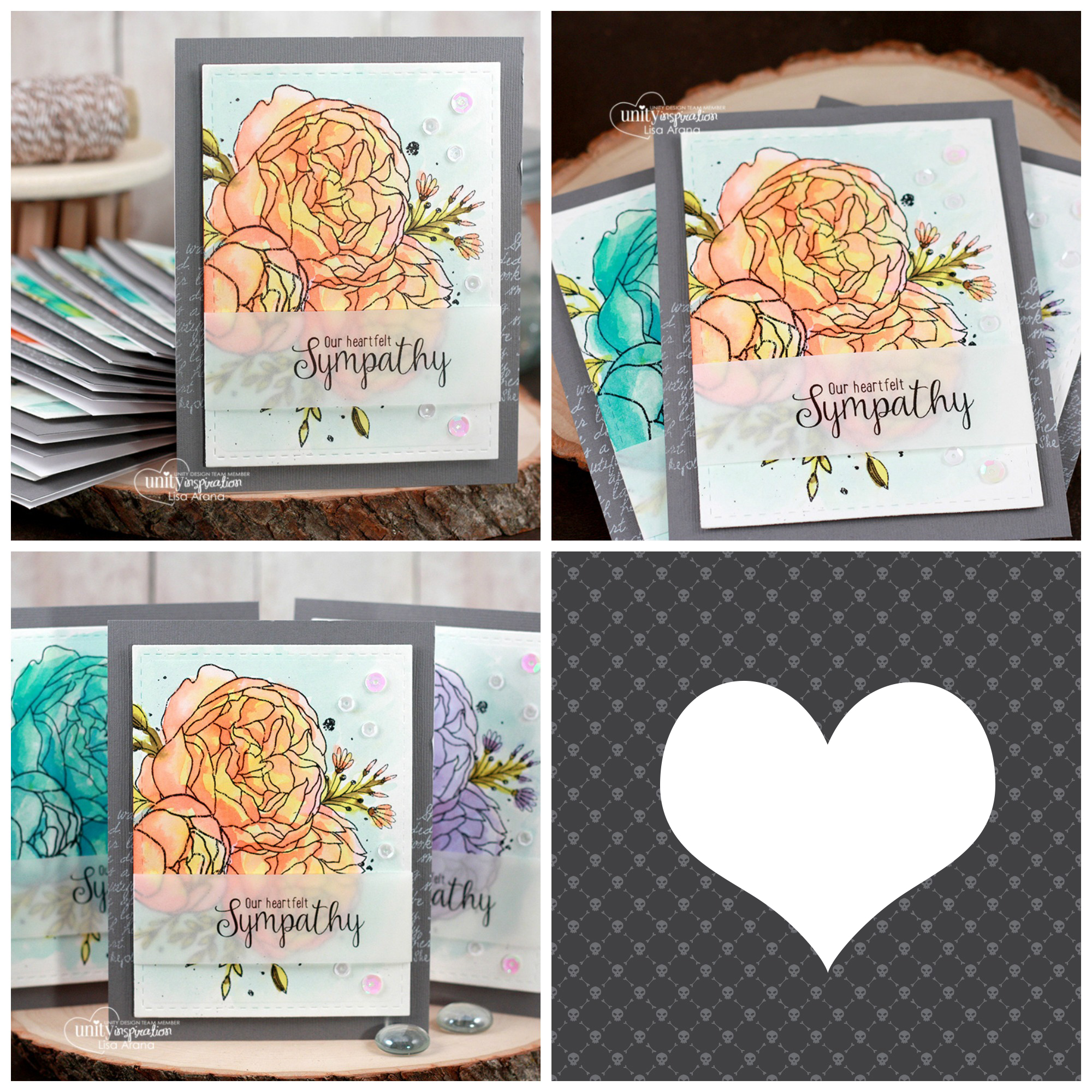 Sharing a set of watercolor sympathy cards using Girl Truly by Unity Stamp Company. #cardmaking #cardmaker #cards #stamping #dahlhousedesigns #unitystampco #handmadecards #diecutting #diy #stationary