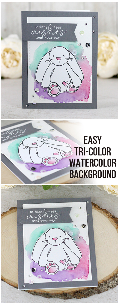 Sharing a card idea on how to create a watercolor background with three colors - a blog tutorial and quick video included. The images are from the Bunny Keep You Forever & Every Single Day Unity Stamp Company stamp sets. More inspiration on dahlhouse-designs.com. #cardmaking #stamping #ideas #diy #howto #tutorial #video #handmade #dahlhousedesigns #unitystampco #watercolor #birthday #bunny #cute #easy