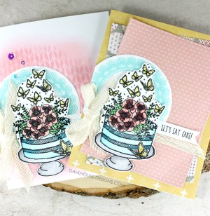 Sharing a card idea for two cards using one layout PLUS a tutorial and quick video. The cake image is from the Blissful Birthday Unity Stamp Company stamp set. More inspiration on dahlhouse-designs.com. #cardmaking #cards #stamping #dahlhousedesigns #unitystampco #ideas #diy #howto #tutorial #video #handmadecards #diecutting #copics #ginak #blending