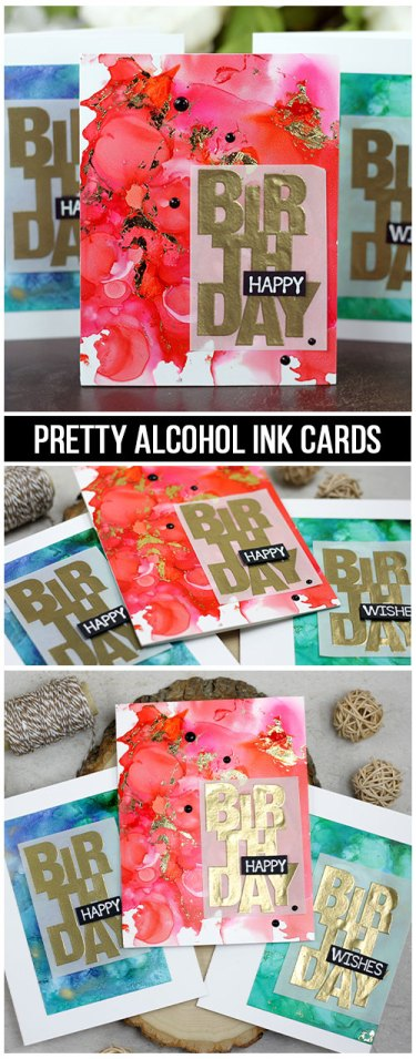 Sharing some tips and tricks for alcohol ink backgrounds with a video tutorial. Using original, pearl and mixative alcohol inks, Yupo paper, Deco Foil & heat embossing. The images are from the Say It Big Unity Stamp Company stamp set. More inspiration on dahlhouse-designs.com.   #cardmaking #cardmaker #cards #stamping #dahlhousedesigns #unitystampco #ideas #diy #howto #tutorial #video #handmadecards #alcoholink #adirondack #timholtz #birthdaycard #embossing