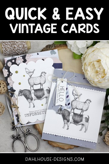 Sharing a quick & easy card idea with a tutorial and quick video. The images are from the Funny Farm Unity Stamp Company stamp set. More inspiration on dahlhouse-designs.com.   #cardmaking #cardmaker #cards #stamping #dahlhousedesigns #unitystampco #handmadecards #diecutting #cardsofinstagram