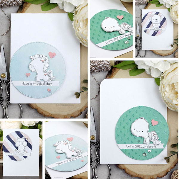 Sharing a card idea for lots of cute cards using an easy layout. The images are from the Tiny Unicorn, Tiny Turtle, Tiny Chipmunk & Tiny Bear Unity Stamp Company stamp set. More inspiration on dahlhouse-designs.com.   #cardmaking #cardmaker #cards #stamping #dahlhousedesigns #unitystampco #handmadecards #diecutting #diy #carddesign #cardcraft #tinyanimals #unicorn #turtle #kidcards #birthdaycards