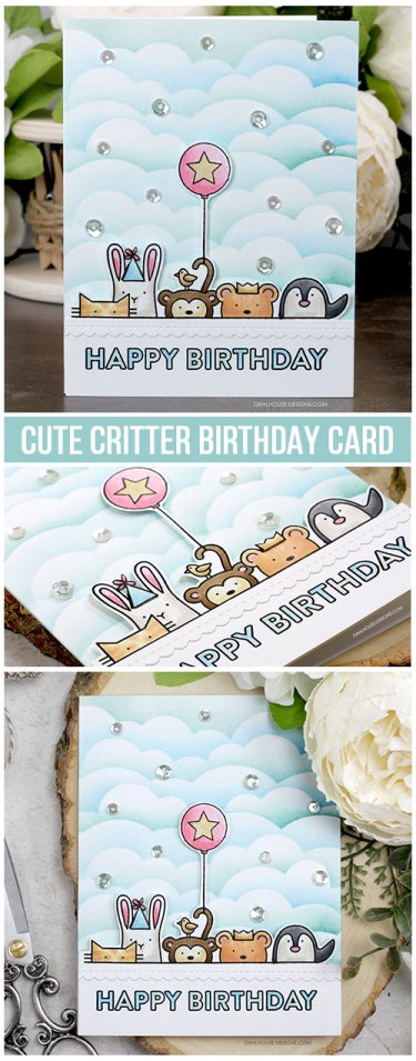 Sharing a fun and cute birthday card idea with a tutorial and quick video. The images are from the Critter Crowd Simon Says Stamp stamp set STAMPtember 2019. More inspiration on dahlhouse-designs.com.   #cardmaking #cardmaker #cards #stamping #dahlhousedesigns #simonsaysstamp #stamptember #mftstamps #handmadecards #blending #distressink #diy #carddesign #cardcraft #birthdaycard