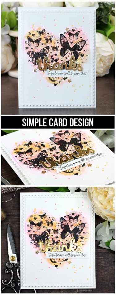 Sharing a simple card idea for watercoloring with Distress Inks on regular cardstock. The images are from the Trust it Will be Okay Unity Stamp Company stamp set. More inspiration on dahlhouse-designs.com. #cardmaking #cardmaker #cardmakingideas #cardinspiration #cards #stamping #dahlhousedesigns #unitystampco #distressink #thankyoucard #watercolor #handmadecards #diecutting #diy #carddesign #cardcraft