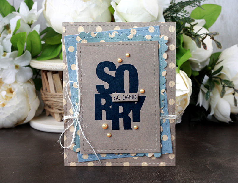 Sharing a simple card idea and layout using the images from the So Dang Sorry Unity Stamp Company stamp set and Polka Dot paper pack. More inspiration on dahlhouse-designs.com.   #cardmaking #cardmaker #cards #stamping #dahlhousedesigns #unitystampco #handmadecards #diecutting #diy #carddesign #cardcraft #sorry