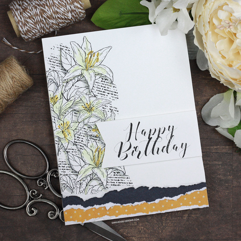 Sharing a simple card idea with torn layers for a birthday card. The images are from the You are my Always Unity Stamp Company stamp set. More inspiration on dahlhouse-designs.com. #cardmaking #cardmaker #cardmakingideas #cardinspiration #simplecards #cards #stamping #dahlhousedesigns #unitystampco #handmadecards #diecutting #diy #carddesign #cardcraft