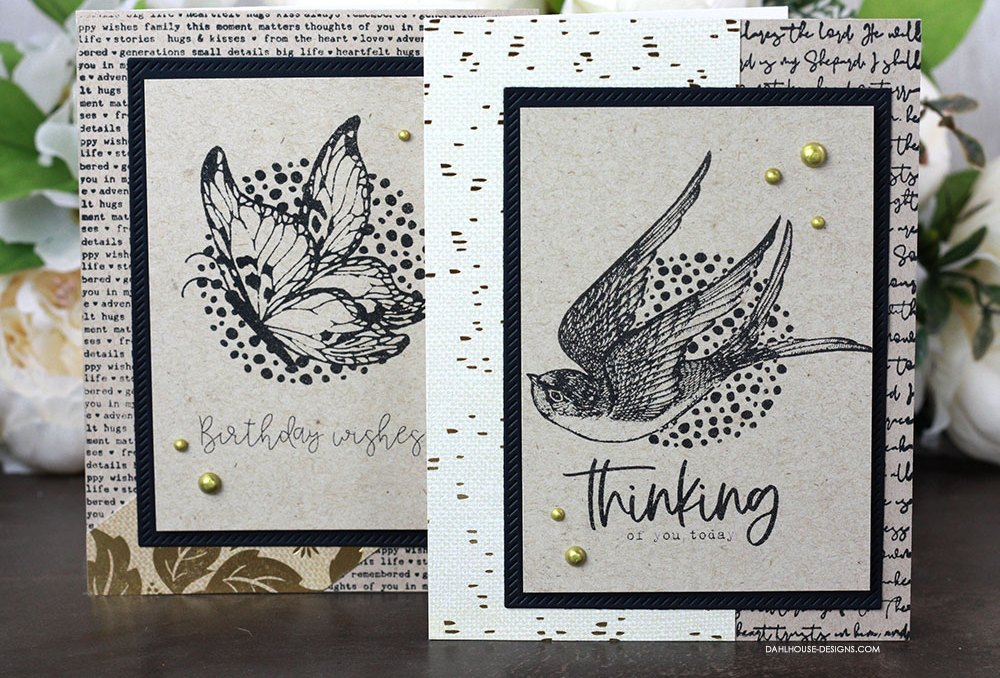 Sharing two simple and easy card designs with a tutorial & quick video. Plus a way to use a pass this card on message inside the card. The images are from the Wonderful and Simple Things Unity Stamp Company stamp set. More inspiration on dahlhouse-designs.com. #cardmaking #cardmaker #cardmakingideas #cardinspiration #simplecards #stamping #dahlhousedesigns #unitystampco #handmadecards #diecutting #carddesign #cardtechnique #passiton #bonusgift