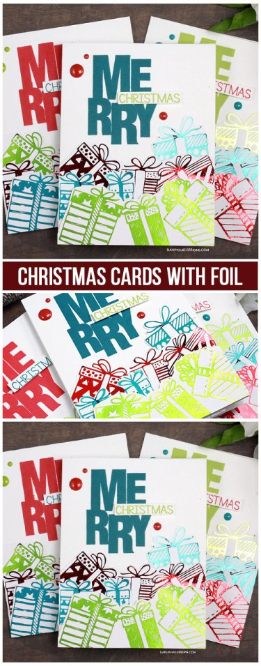 Sharing a fun Christmas card idea using toner sheets and foil with a tutorial & quick video. The images are from the Gifts A Plenty toner sheet and Say It Big {holiday} Unity Stamp Company stamp set. More inspiration on dahlhouse-designs.com. #cardmaking #cardmaker #cardmakingideas #cardinspiration #simplecards #stamping #dahlhousedesigns #unitystampco #handmadecards #diecutting #carddesign #cardtechnique #thermoweb #foiling #christmascards