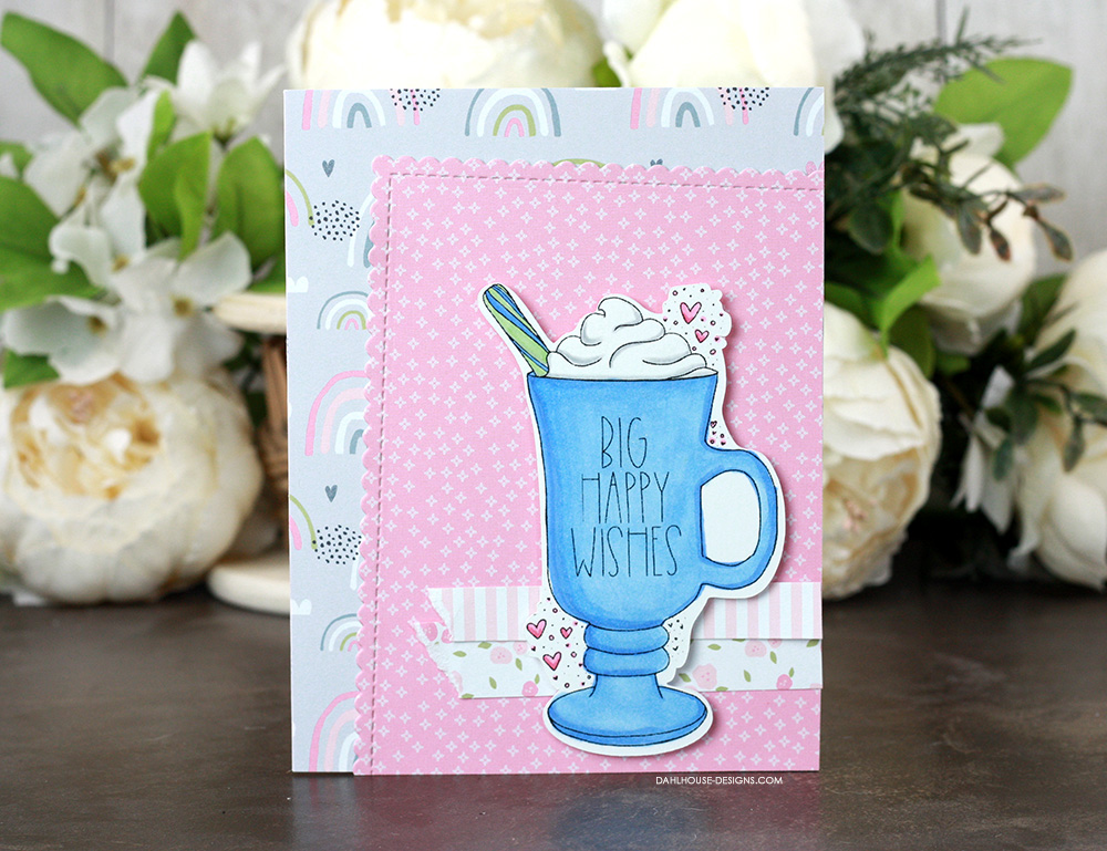Sharing a few card ideas for the It's a Mug Hug stamp set with a tutorial & quick video. Stamps from Unity Stamp Company. More inspiration on dahlhouse-designs.com. #cardmaking #cardmaker #cardmakingideas #cardinspiration #simplecards #stamping #dahlhousedesigns #unitystampco #handmadecards #diecutting #carddesign #cardtechnique #coffeecards #birthdaycards
