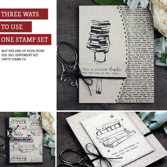 Sharing three simple card ideas with a tutorial & quick video. Perfect for the book lover in your life. The images are from the Not the End of Your Story and Small Details Unity Stamp Company stamp sets. More inspiration on dahlhouse-designs.com. #cardmakingideas #cardmaker #cardmakingideas #cardinspiration #simplecards #rubberstamps #dahlhousedesigns #unitystampco #handmadecards #carddesign #craftersgonnacraft #papercrafting #booklover