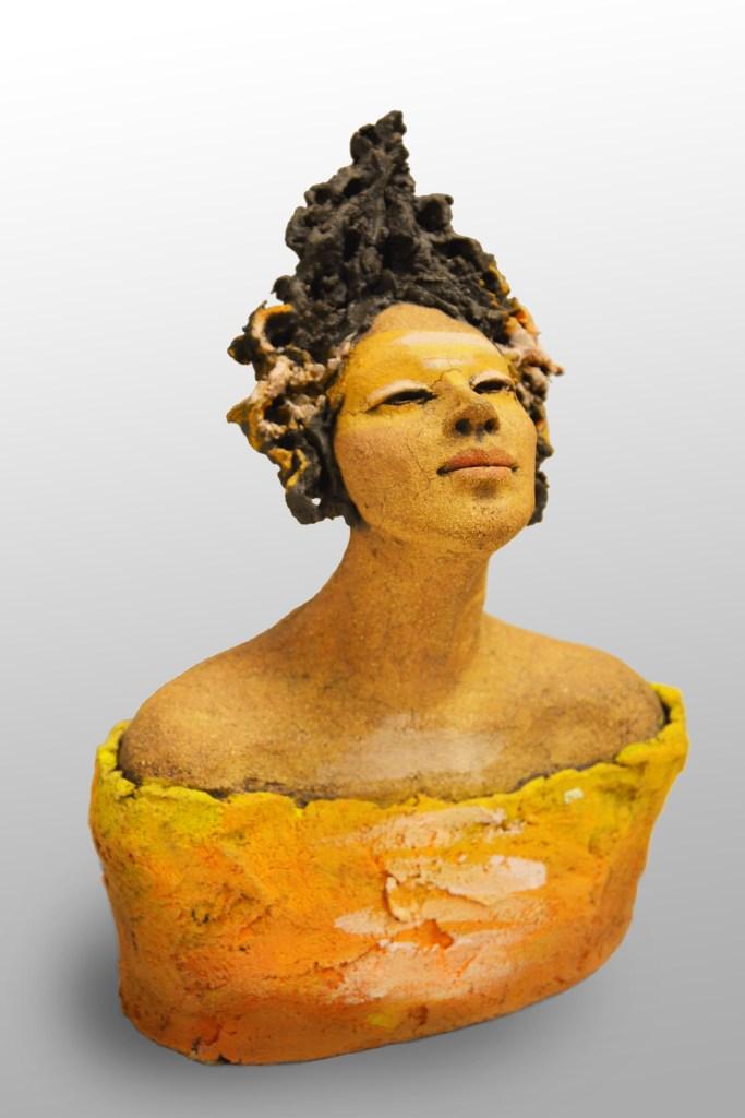 Orange byste, keramikk, skulptur, Ingun Dahlin