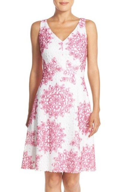 Maggy London 'Star Medallion' Lace Fit & Flare Dress