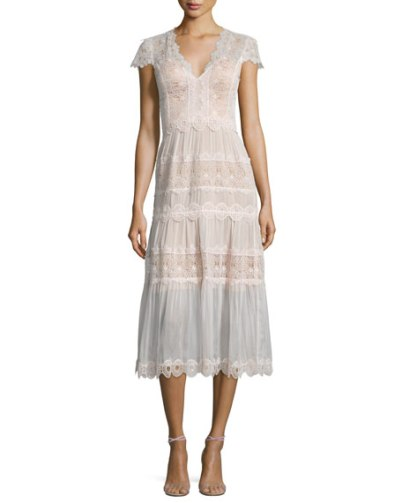 Catherine Deane Short-Sleeve Tiered Lace A-Line Cocktail Dresses