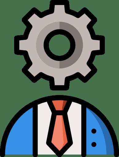 Un rouage mécanique à la place de la tête d'un homme en costume. Icone représentant les formations.