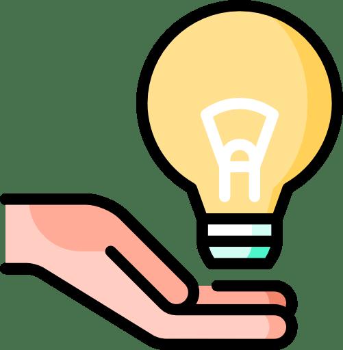 Une main tient une ampoule allumée. Icone représentant les formations