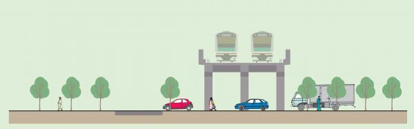 補助85号線ー埼京線及び補助73号線の交差部