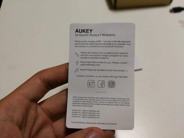 AUKEY BluetoothイヤホンEP-E1の保証書
