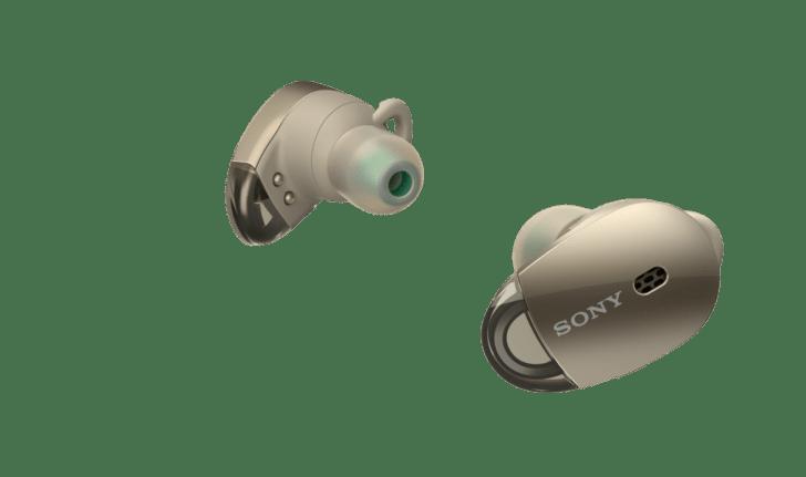 sonyの完全独立型ワイヤレスイヤホンWF-1000X」のゴールド