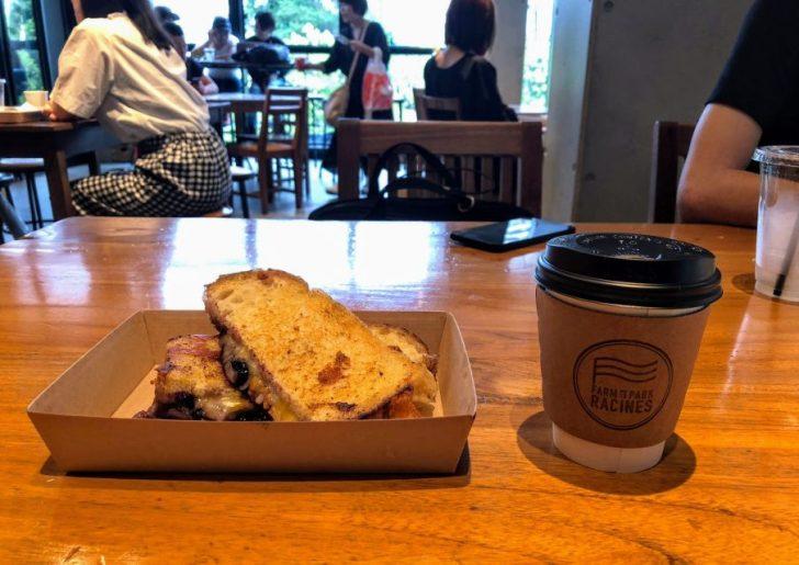 南池袋公園の芝生公園カフェRacines_FARM_to_PARKのグリルドチーズスイートとドリップコーヒー