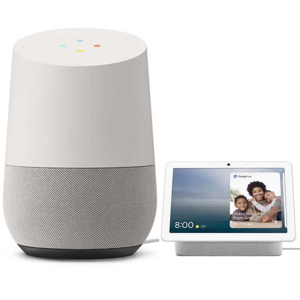 Google Home Smart Speaker with G-Assistant + Google Nest Hub Max - Chalk