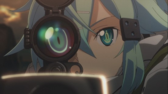 Sinon looking down a scope