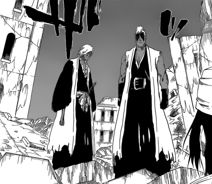 Kensei and Rojuro stand in front of Byakuya
