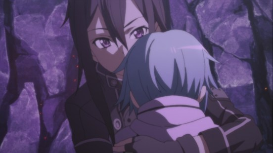 Kirito hugs Sinon