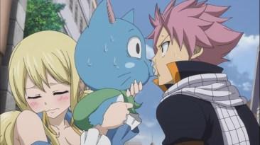 Natsu kisses Happy