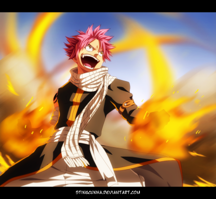 Fairy Tail 430 Natsu on fire by stingcunha