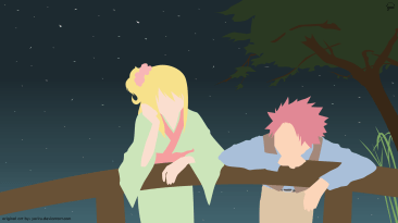 Natsu and Lucy Fairy Tail Minimalistic Wallpaper by greenmapple17