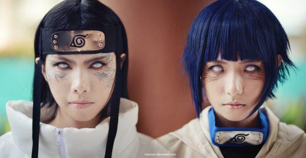 Hinata and Neji Hyuga Cosplay Face by vaxzone