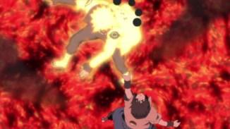 Sasuke holds on to Naruto's leg