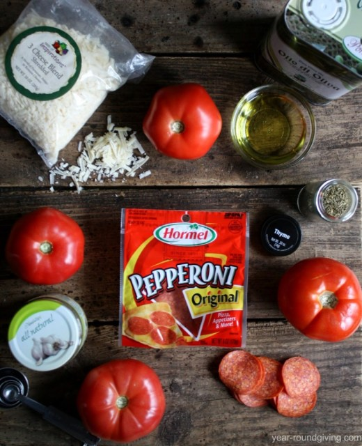 Grilled Tomatoes and Pepperoni Ingredients