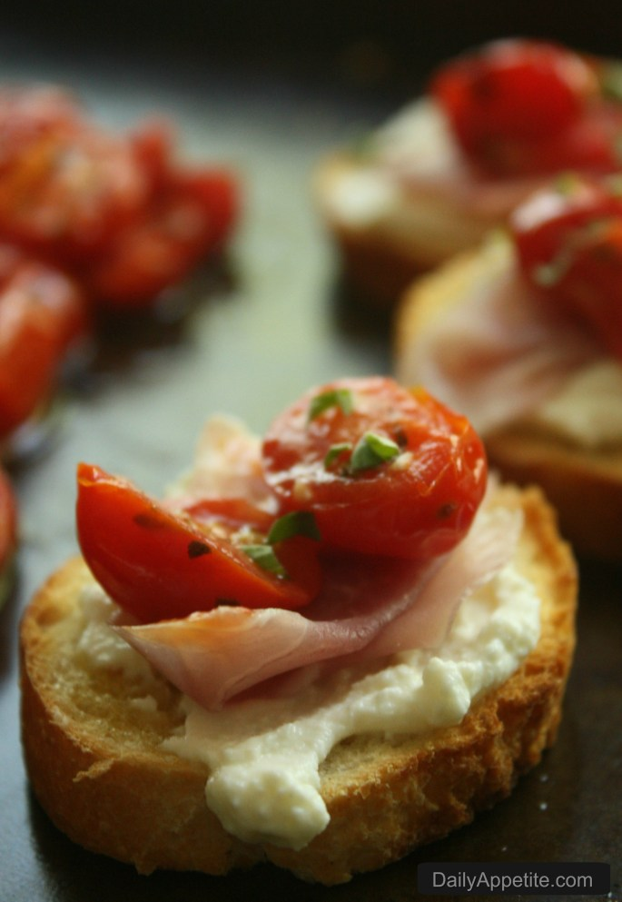 Sauteed Grape Tomato Crostini. A Summer appetizer with tomatoes from the garden.