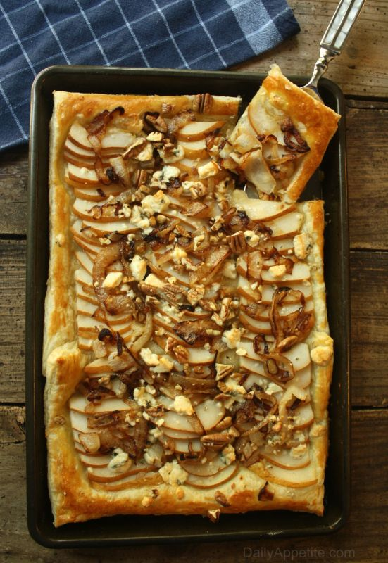 Pear Tart with Gorgonzola Cheese, Caramelized Onions and Pecans. The flavors compliment each other perfectly in this one of a kind savory appetizer.