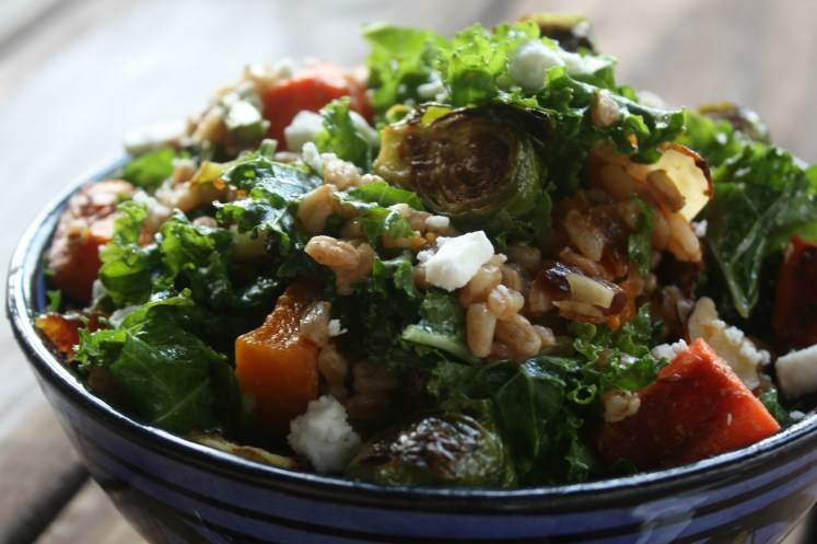 Kale and Farro Salad with Roasted Vegetables and Feta Cheese