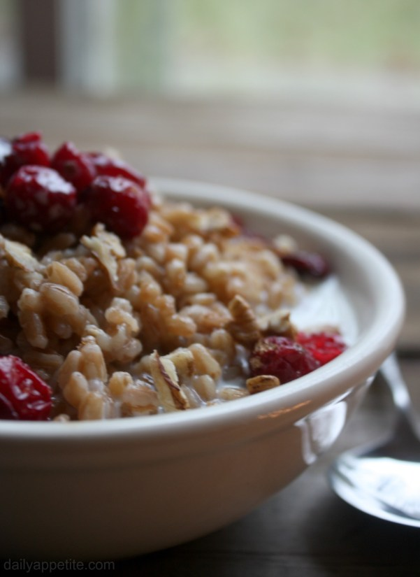 Roasted Cranberry Maple and Brown Sugar Farro with Chopped Pecans Breakfast Bowl