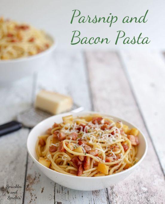 Parsnip & Bacon Pasta plus 60+ Parsnip Recipes
