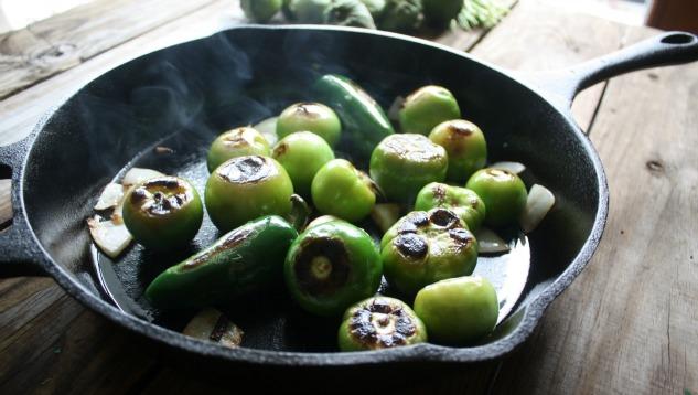 Roasted vegetables for salsa verde