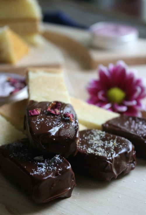 Salted Chocolate Dipped Shortbread Cookies